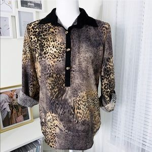 Alberto Makali Animal Print Blouse Ladies Size XS